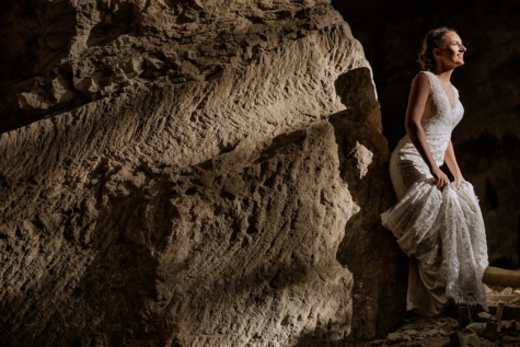 pretty girl, dress, gorgeous, photo model, stones, posing, smiling, woman, dark, cave