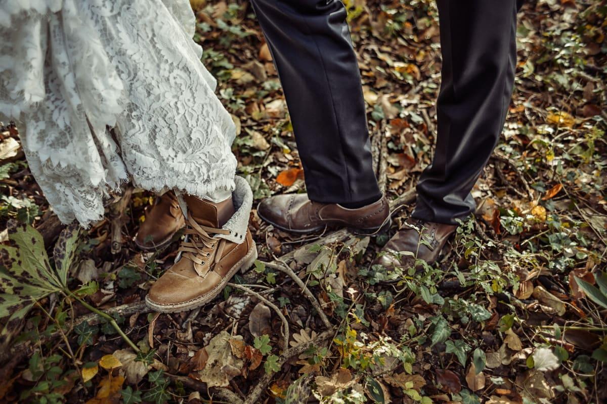 bottes, chaussures, automne, boue, Jeans/Pantalons, jeune marié, homme, robe de mariée, la mariée, femme