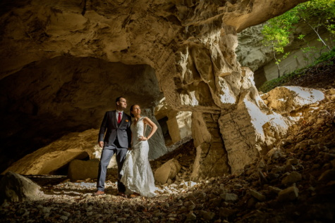 cave, underground, just married, wilderness, exploration, adventure, bride, groom, people, rock