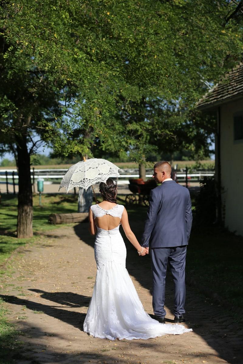 romance, village, nostalgia, umbrella, pretty girl, dress, man, groom, wedding, bride