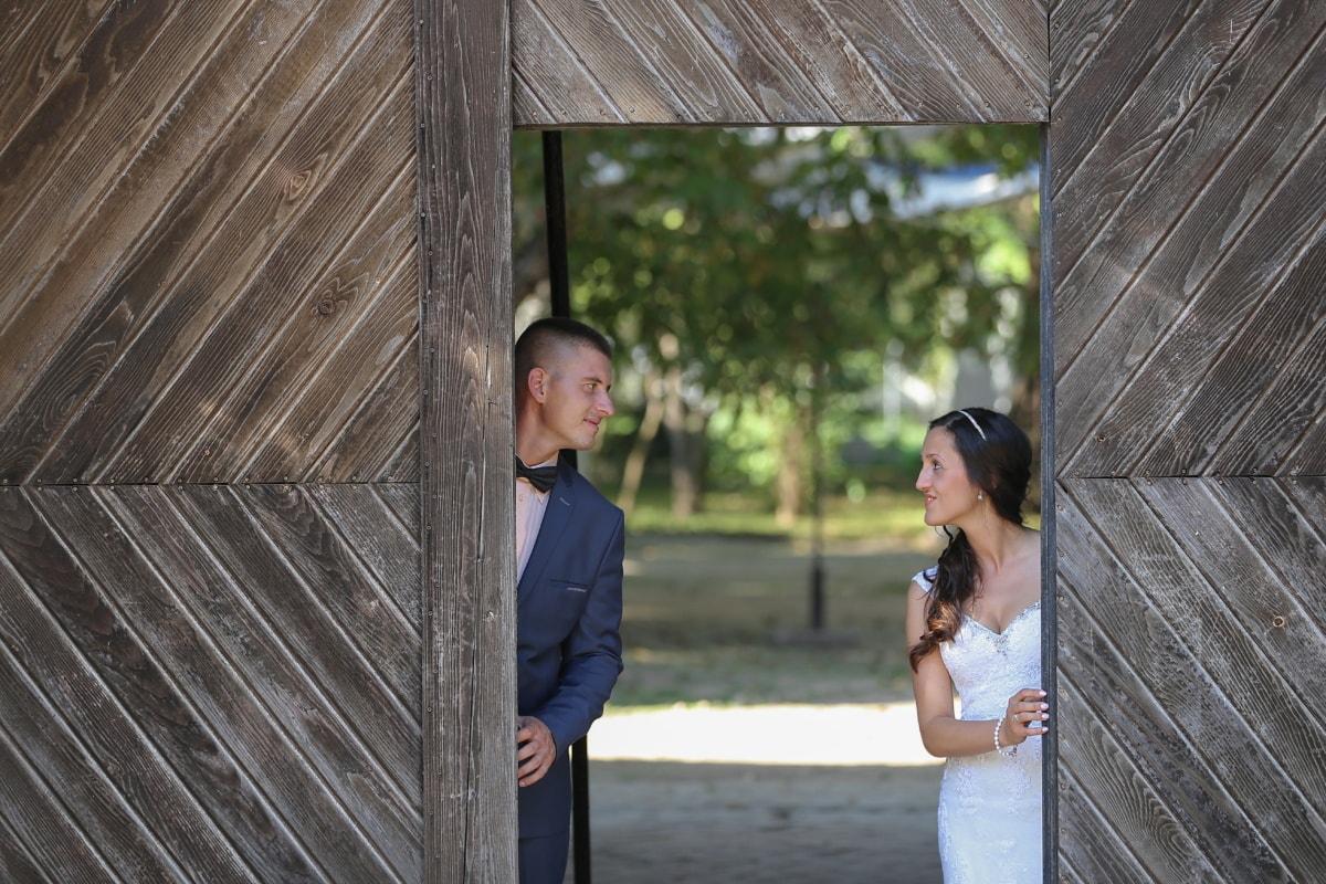 just married, front door, bride, groom, gateway, girl, woman, people, portrait, wood