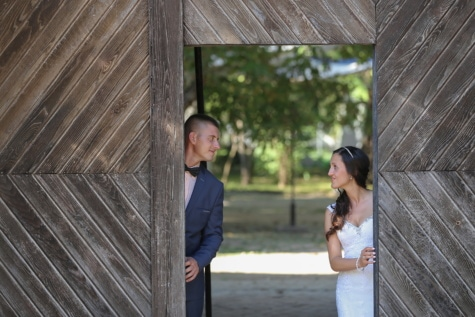 just married, front door, bride, groom, gateway, girl, woman, people, portrait, wood