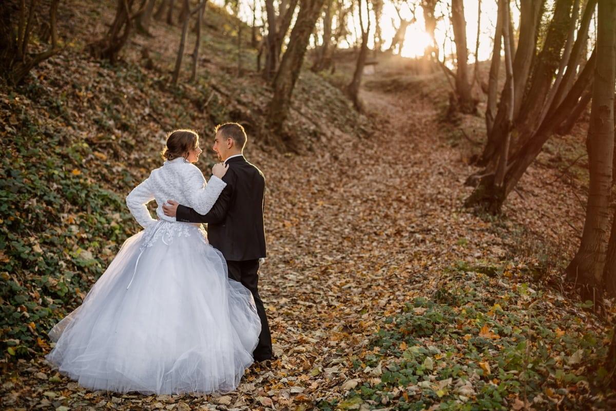 forest path, newlyweds, walking, autumn season, groom, dress, engagement, marriage, bride, people