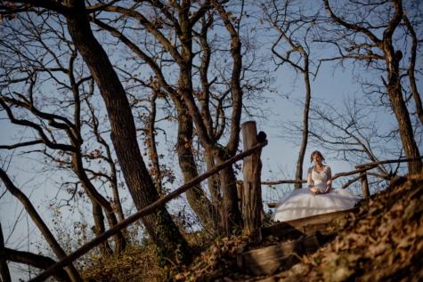 bruid, alleen, heuveltop, denk dat, bos, boom, bomen, hout, landschap, meisje