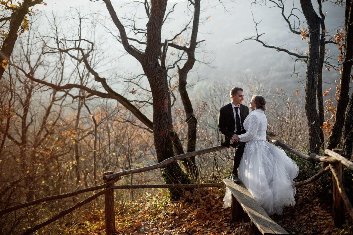 tout juste marié, forêt, la mariée, nature, nature sauvage, jeune marié, automne, randonnée, mariage, arbre