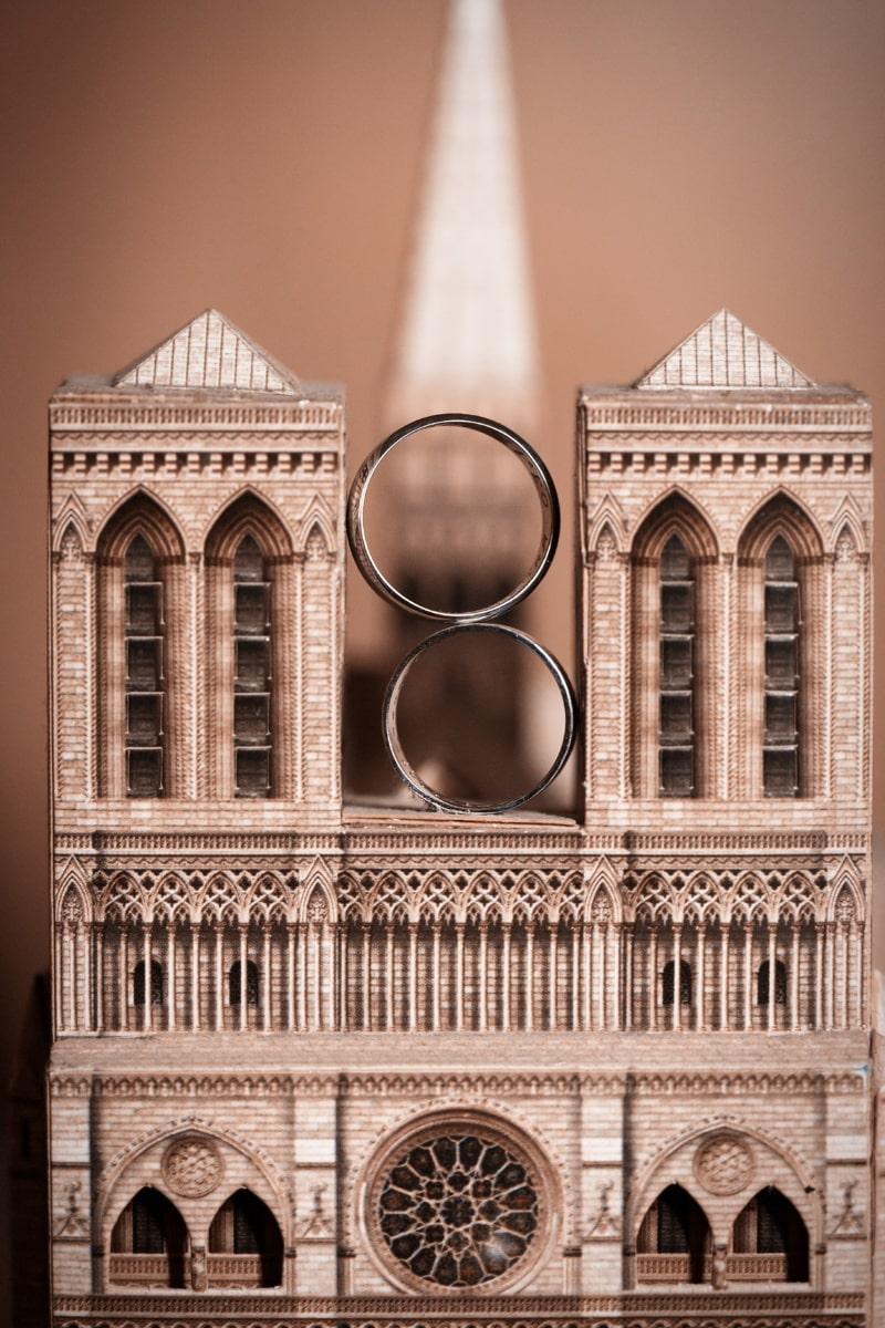 romantique, bague de mariage, architecture, miniature, fermer, façade, Église, vieux, vintage, art