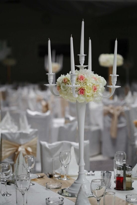 elegance, candles, wedding venue, luxury, candlestick, dining area, wedding, cutlery, candle, dining