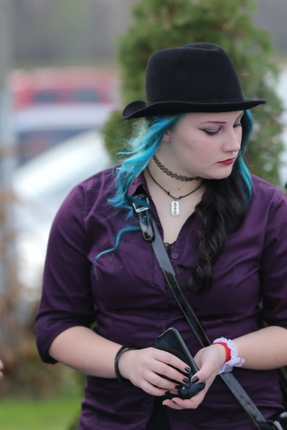 gothic, hairstyle, fashion, hat, pretty girl, young woman, woman, person, outdoors, portrait
