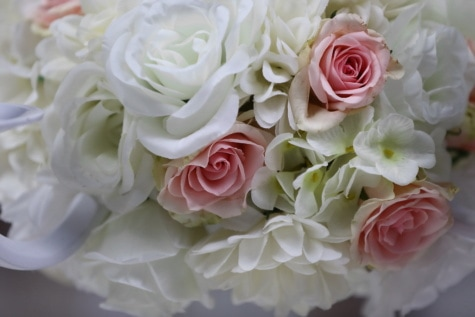 白花, 玫瑰, 柔和, 近距离, 束, 浪漫, 花, 婚礼, 上升, 装饰