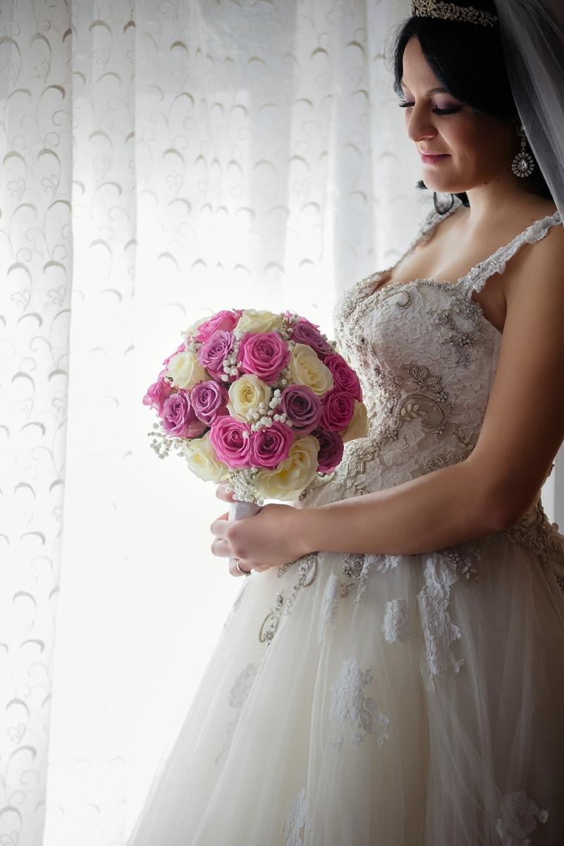 Braut, schwanger, Hochzeit, Hochzeitskleid, Hochzeitsstrauß, junge Frau, herrlich, schöne, Person, Kleid