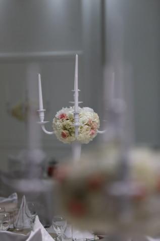 levende lys, stearinlys, elegante, luksus, hvit, uskarpt, fokus, anlegget, bryllup, blomst