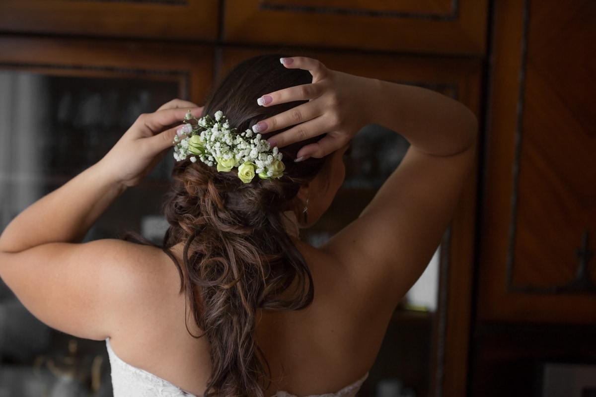 Frisur, lange, Blumen, Zubehör, Brünette, Frau, Hochzeit, Braut, Mädchen, Liebe