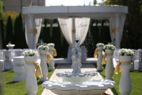 wedding venue, fountain, luxury, outdoor, sculpture, romance, wedding, flower, outdoors, ceremony