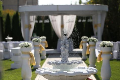 salle de mariage, Fontaine, luxe, en plein air, sculpture, romance, mariage, fleur, à l'extérieur, cérémonie