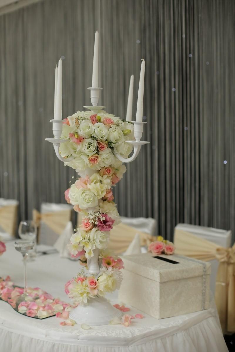 candle, candlelight, romantic, bouquet, wedding venue, interior design, decoration, flower, wedding, arrangement