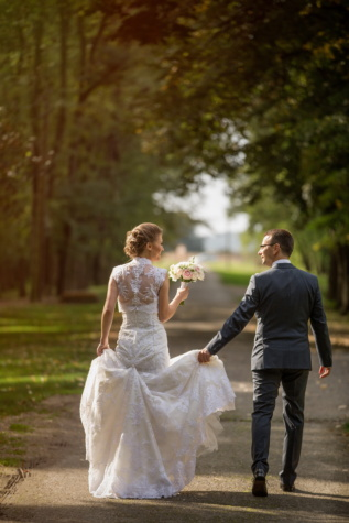 walking, smiling, newlyweds, man, pretty girl, fun, suit, enjoyment, wedding dress, togetherness