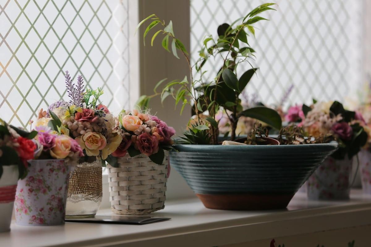 dekorative, fenster, Blumentopf, Schatten, Weidenkorb, handgefertigte, Glas, Blumenstrauß, Blume, Vase