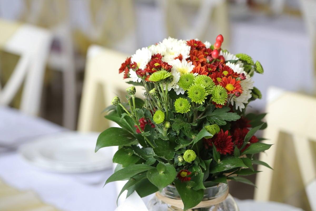 Cafeteria, Blumen, Blumenstrauß, Glas, aus nächster Nähe, Dekoration, Blume, Anordnung, Blatt, elegant