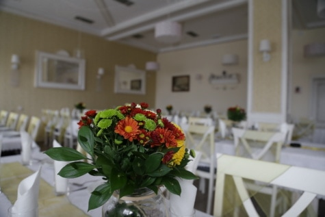 Cafeteria, leere, Blumenstrauß, Glas, Vase, Möbel, Tabelle, Stuhl, drinnen, Interieur-design