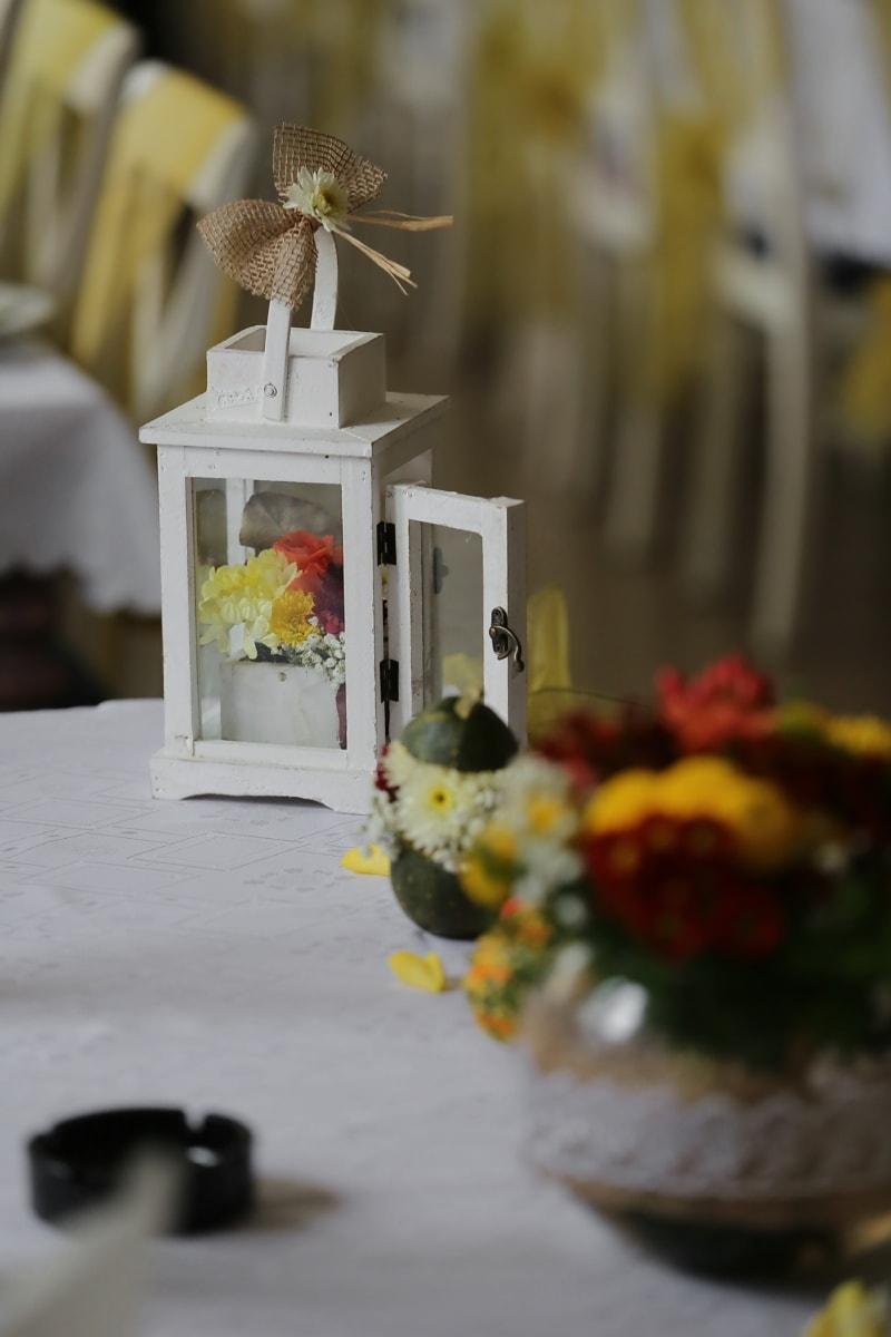 Lanterna, vaso di fiori, vintage, fatto a mano, carpenteria, vecchio stile, in casa, natura morta, decorazione, design d'interni