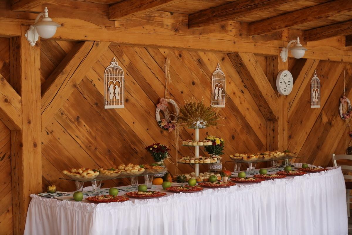 restaurant, buffet, apéritif, architecture, bois, Création de, à l'intérieur, en bois, meubles, luxe