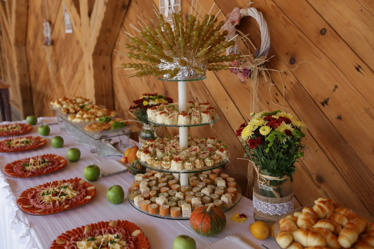 sushi, buffet, banquet, delicious, salami, dinner, meal, restaurant, table, food