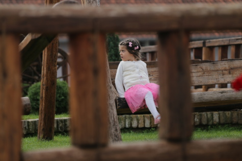 pretty girl, playground, playful, sitting, bench, girl, park, wood, portrait, nature