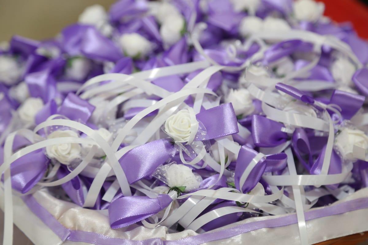 décoratifs, fait main, mariage, ruban, symbole, romance, amour, élégant, décoration, violet