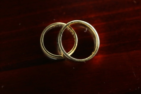 gold, wedding ring, pair, golden shine, love, symbol, romance, table, still life, light