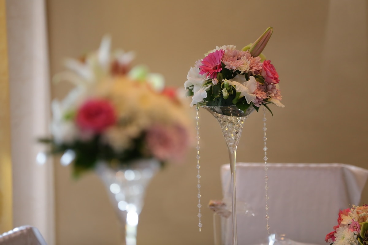 decoration, wedding venue, wedding, crystal, beads, vase, love, pink, flowers, elegant