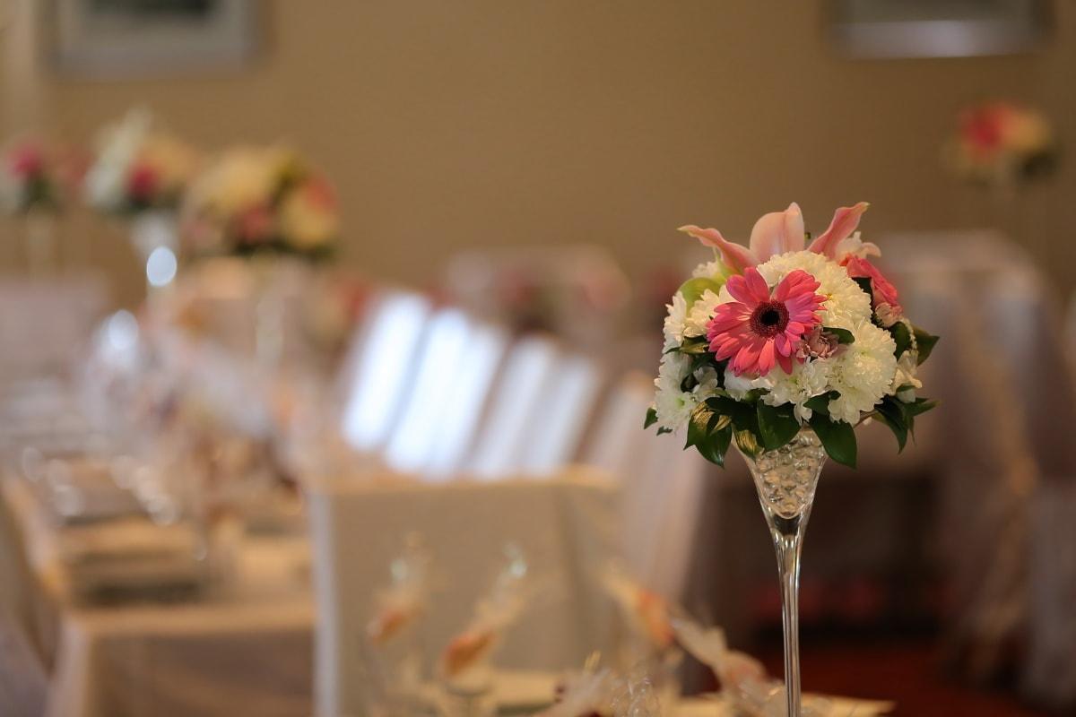 décoration d'intérieur, salle à manger, salle à manger, bouquet, élégance, salle de mariage, mariage, fleur, à l'intérieur, amour