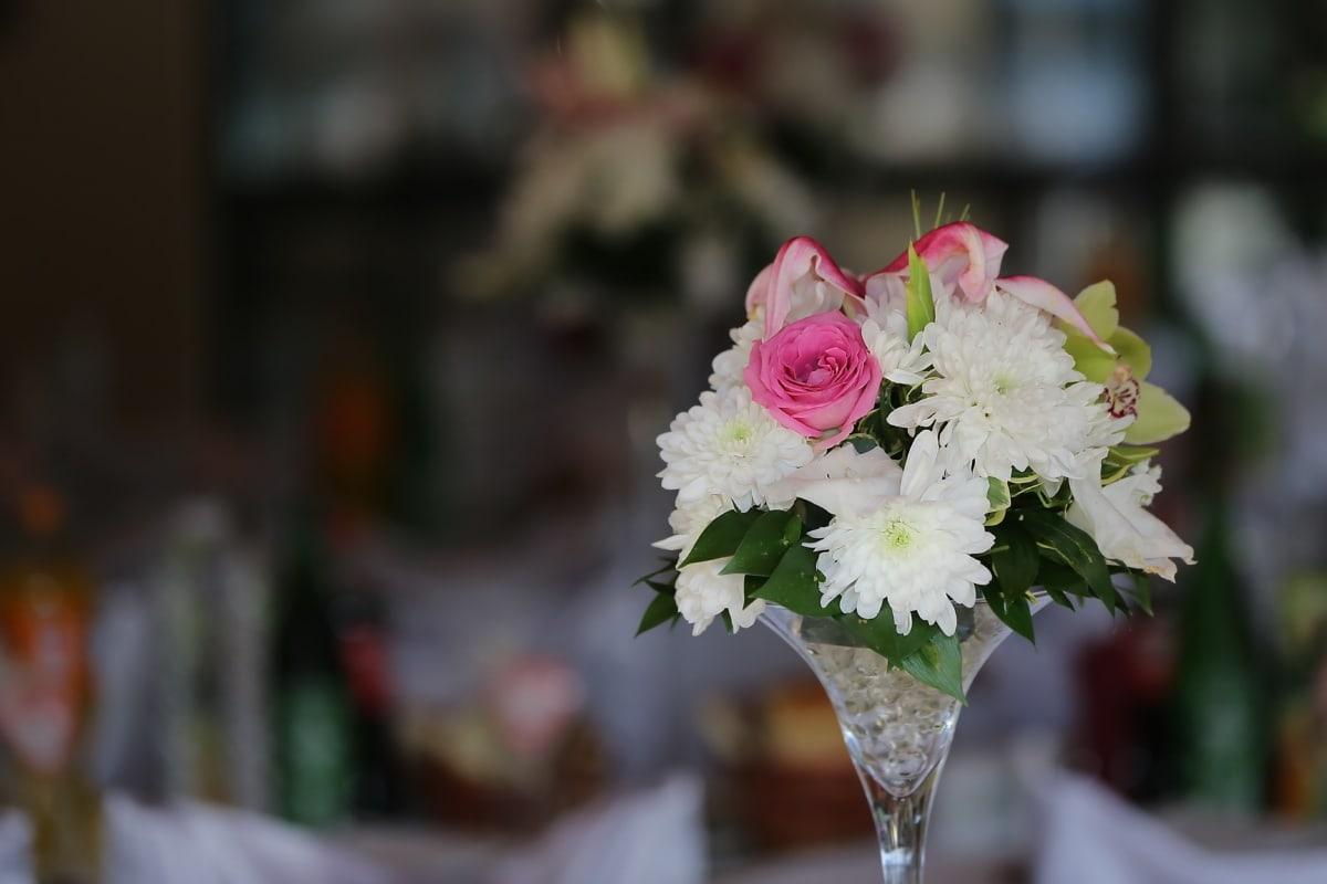 Kristall, Vase, Chrysantheme, weiße Blume, dekorative, Blumenstrauß, Hochzeit, Blumen, stieg, Blume