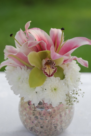 lily, pinkish, bouquet, orchid, vase, crystal, elegant, flowers, arrangement, pink