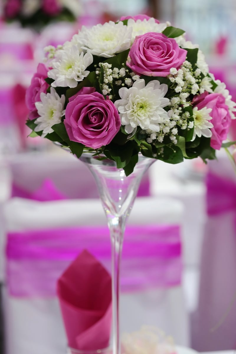 crystal, vase, elegant, bouquet, flowers, pinkish, wedding, romance, decoration, nature