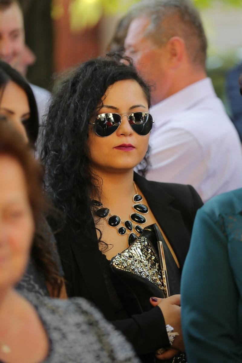 elegant, lady, hairstyle, black, sunglasses, meeting, crowd, fashion, portrait, model