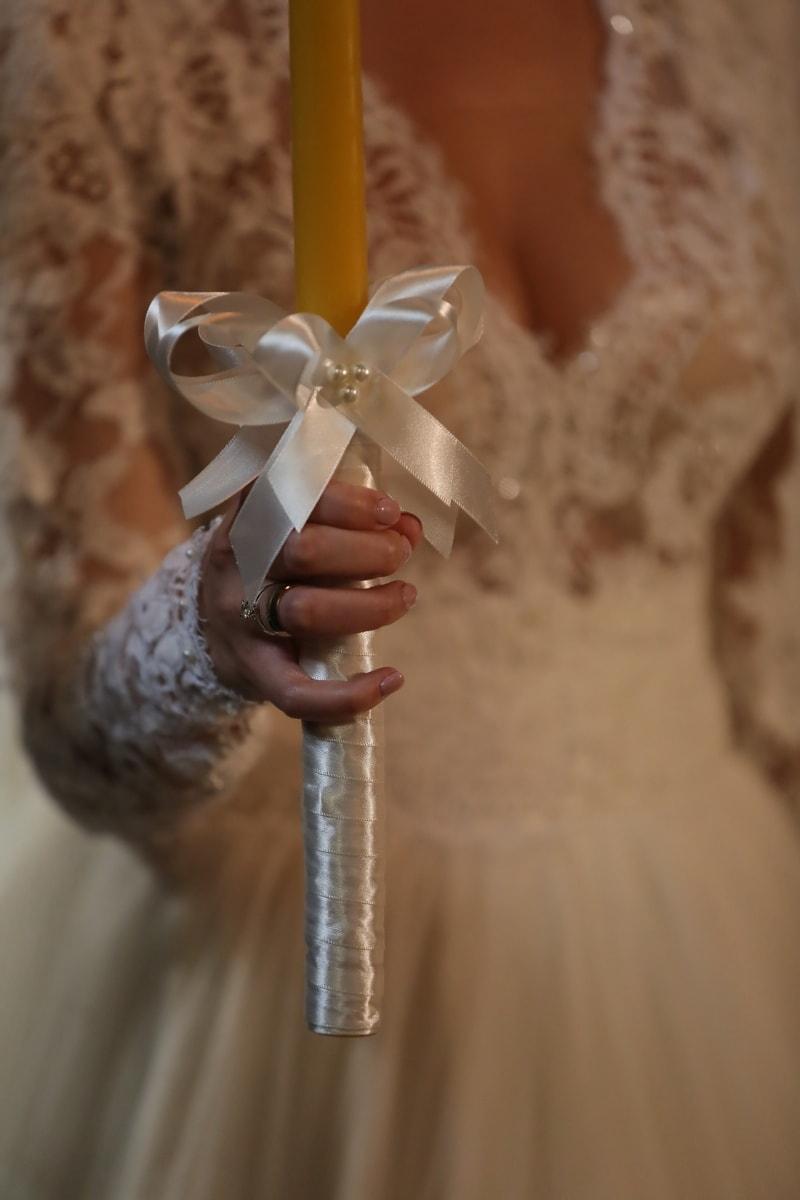 la mariée, bougie, robe de mariée, bague de mariage, mariage, femme, traditionnel, amour, jeune fille, brouiller