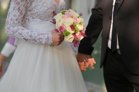 mariage, bouquet de mariage, robe de mariée, cérémonie, mains, la mariée, jeune marié, bouquet, mariage, robe