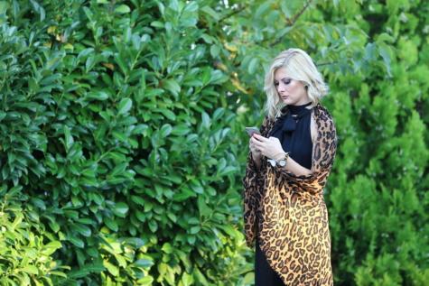 charme, femme d'affaires, élégant, téléphone portable, joli, Portrait, Dame, nature, feuille, femme