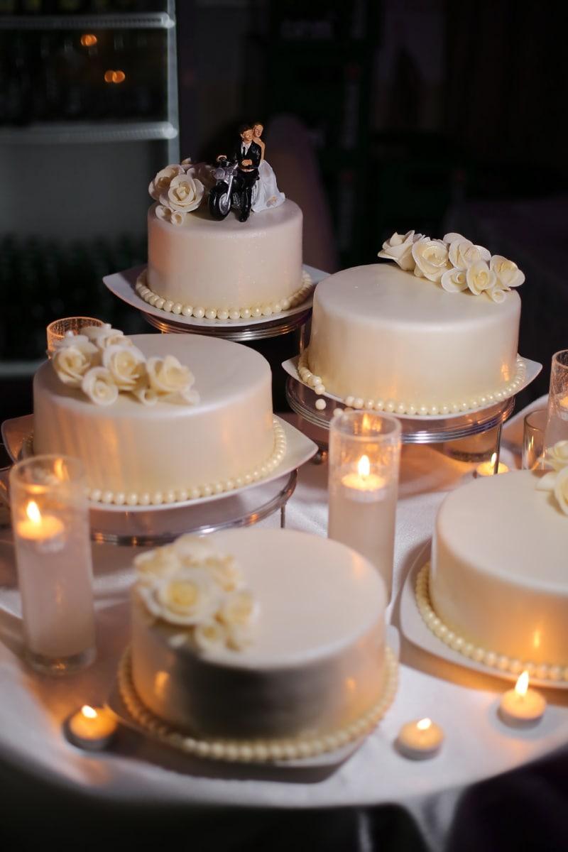 élégance, gâteau de mariage, chandelier, bougies, luxe, aux chandelles, mariage, repas, bougie, crème