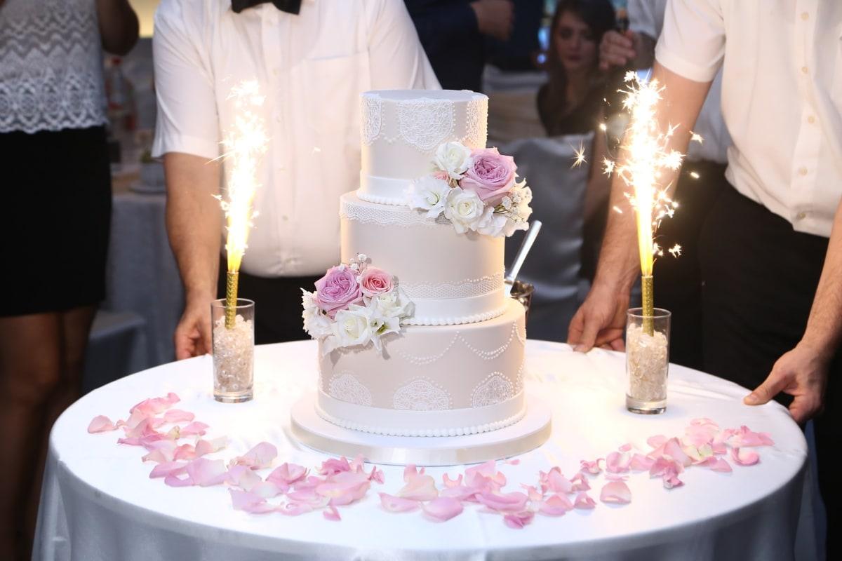 Hochzeitstorte, Zeremonie, Funke, Feier, Barmann, Partei, Hochzeit, Kerze, Blumenstrauß, Liebe