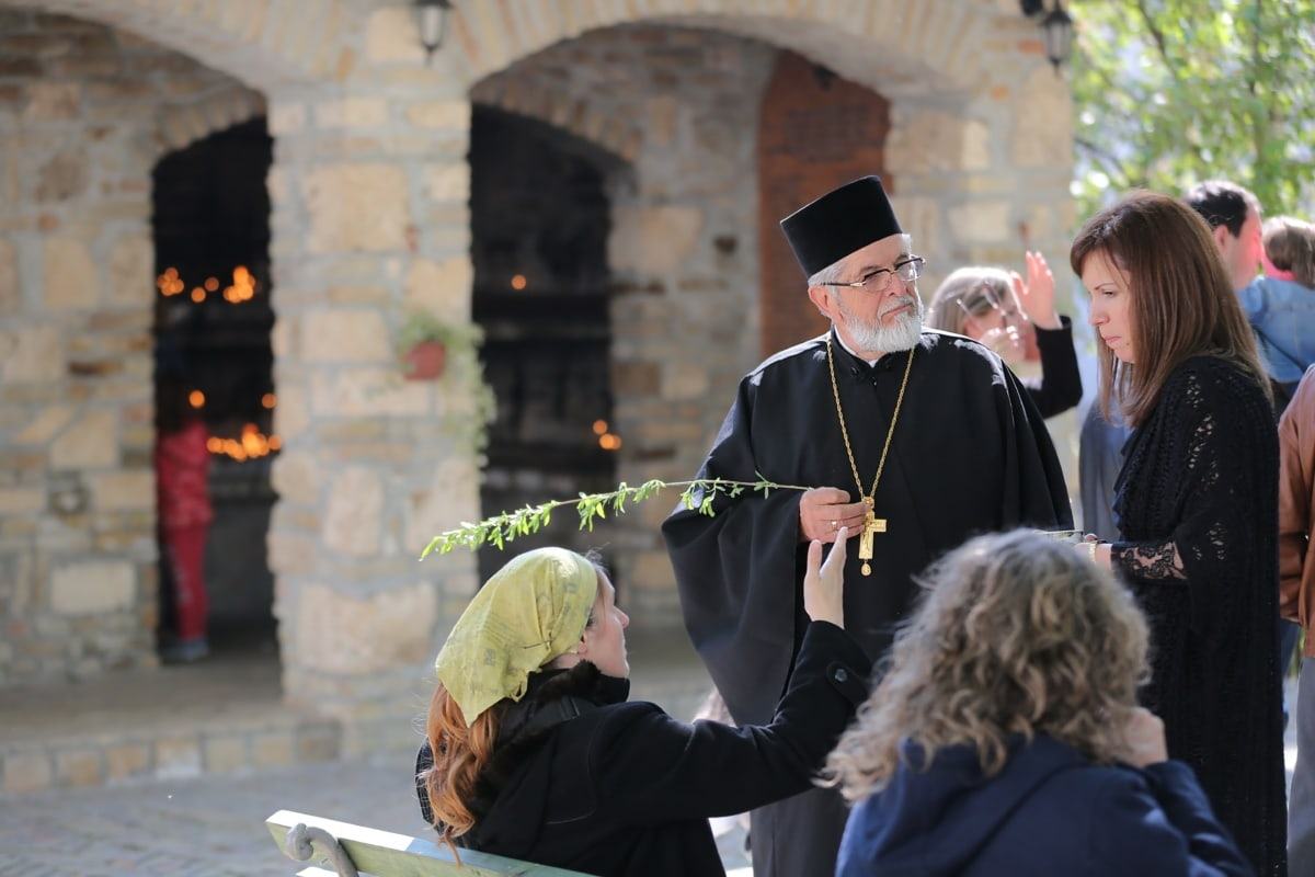 orthodox, priest, tradition, crowd, women, talk, conversation, religion, woman, people