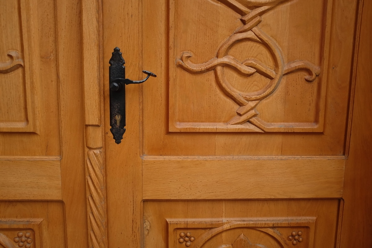front door, heavy, wooden, oak, carpentry, wood, door, old, interior design, doorway