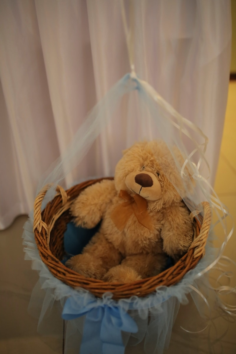teddy bear toy, wicker basket, nostalgia, light brown, toy, cute, basket, indoors, traditional, funny