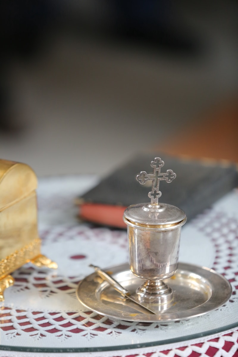 Silber, Kreuz, Objekt, Still-Leben, traditionelle, Luxus, drinnen, Tabelle, Feier, Dekoration