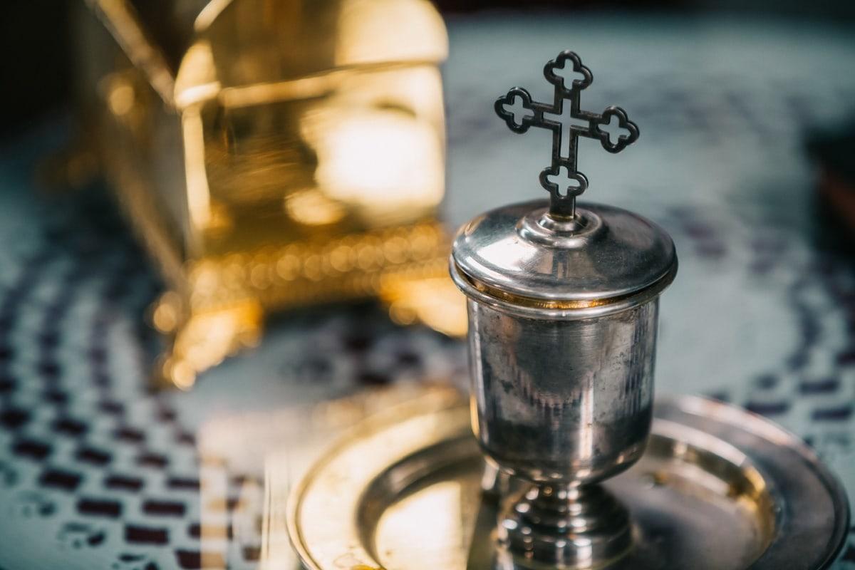 éclat doré, Silver, brillante, Croix, traditionnel, religieux, objet, antique, vieux, en laiton
