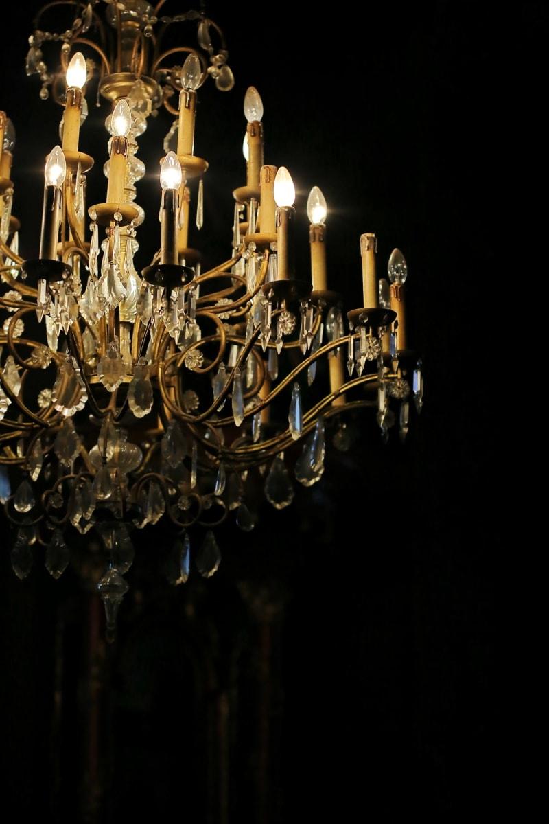 zlatni sjaj, kristal, luster, barok, svijeća, lampa, svjetlo, lanterna, tamno, zlato