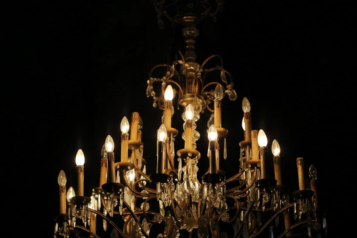 Crystal, lustre, jaune orangé, brun clair, lumières, sombre, architecture, bougie, lampe, lumière