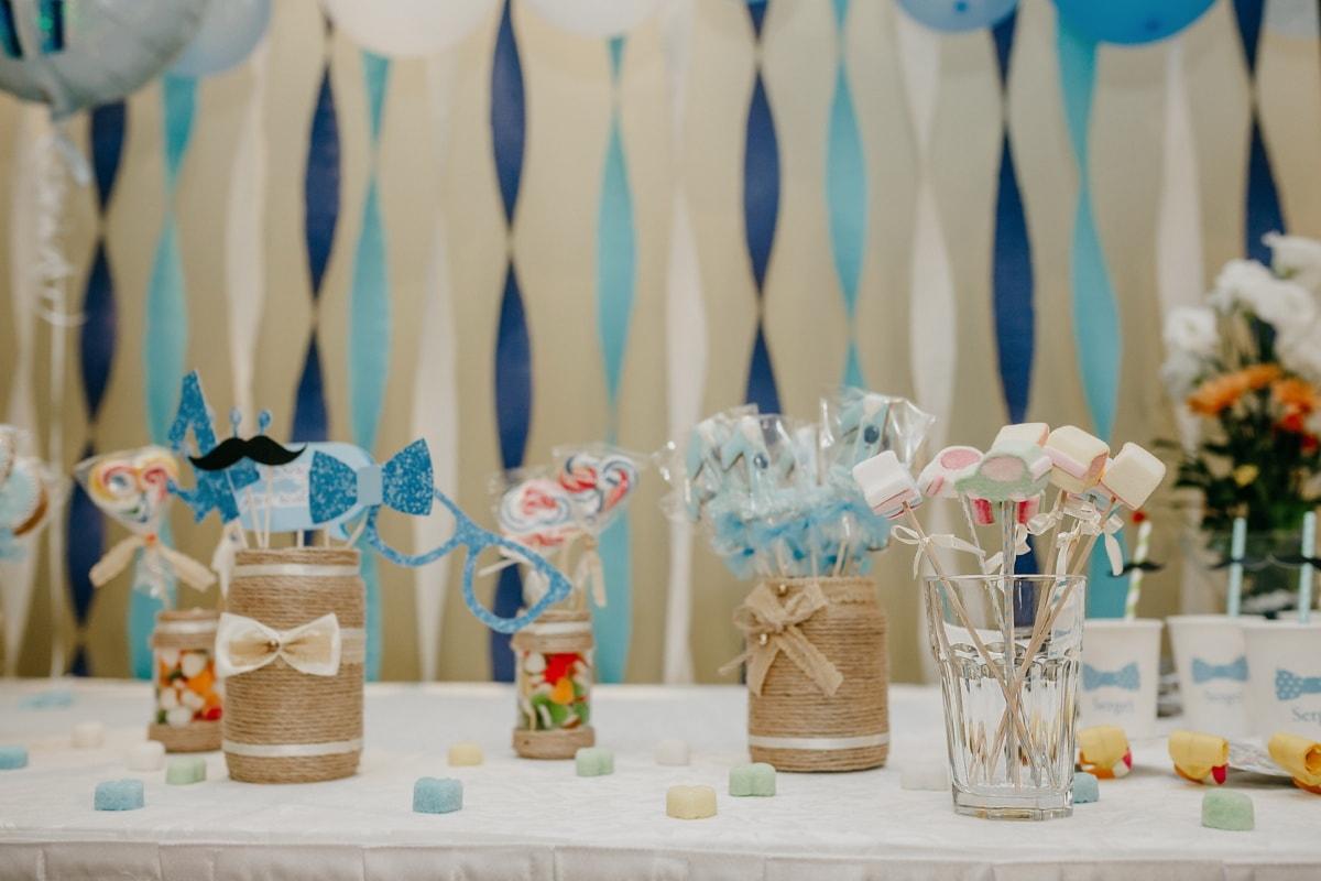 birthday, party, dessert, table, lollipop, decoration, glass, indoors, celebration, vacation