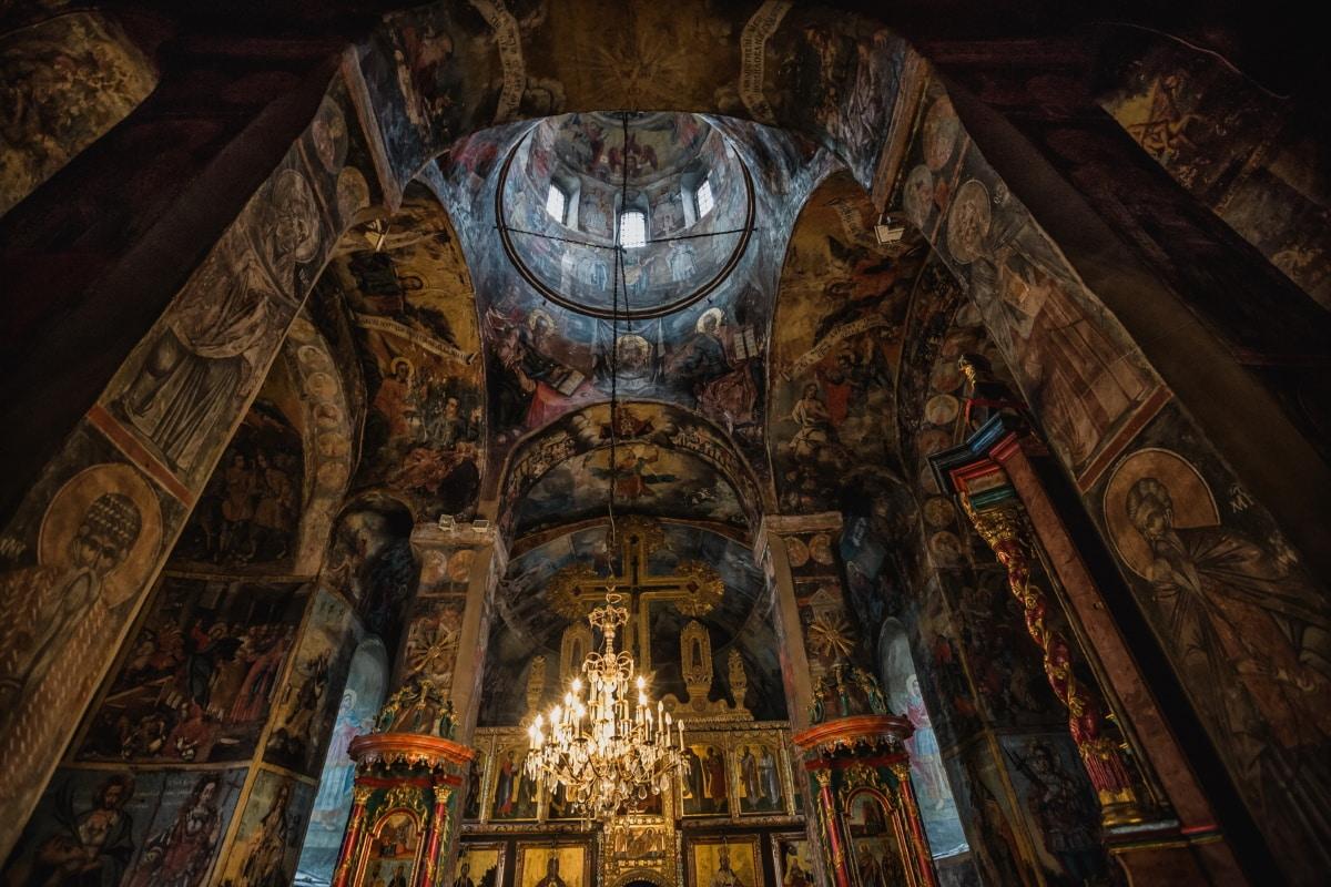 samostan, pravoslavlje, unutar, kupola, strop, zidovi, fina umjetnost, oltar, katedrala, arhitektura