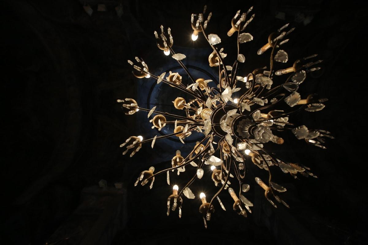 suspendu, Crystal, lustre, ténèbres, lumières, illumination, fait main, art, sombre, conception